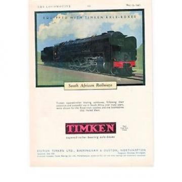Timken Original and high quality British s South African Railways Leslie Carr 1947 Vintage Advert